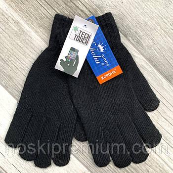 Перчатки мужские шерстяные одинарные с начёсом Tech Touch Корона, для смартфонов, чёрные, 8123