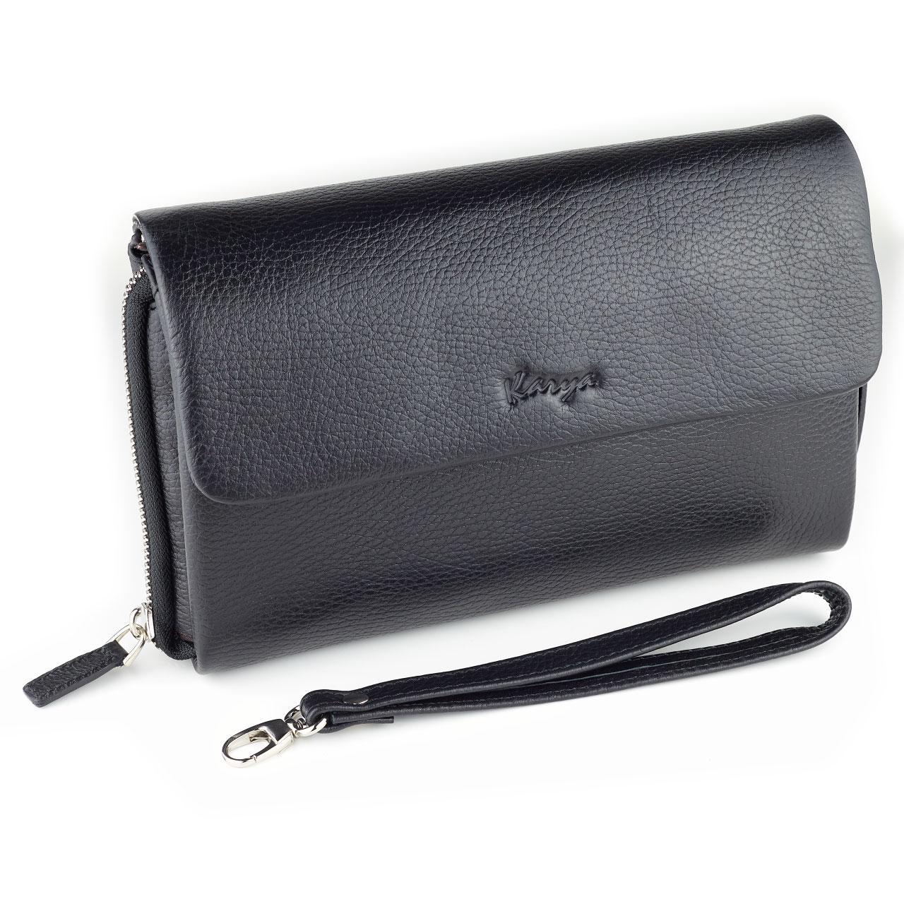 Мужская сумка барсетка Karya 0361-45 кожаная черная