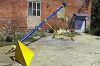 Шнековый транспортер Ø159 мм, длинной 6 м., 12 т/час, 3 кВт.