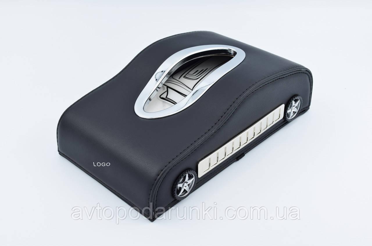 """Салфетница кожаная в автомобиль с номером телефона """"Black"""" MITSUBISHI"""