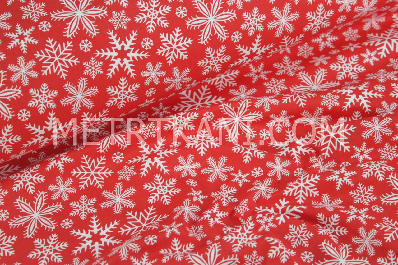 """Тканина бавовняна """"Сніжинки на червоному тлі""""№304"""