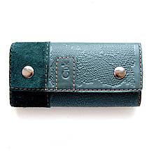 """Ключница кожаная с карабинами на кнопках """"Moss Green"""" (Guk). Цвет зеленый"""