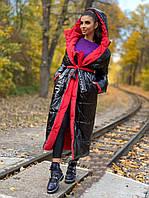 Пуховик женский Яркая зима красноес черным норма и Батал