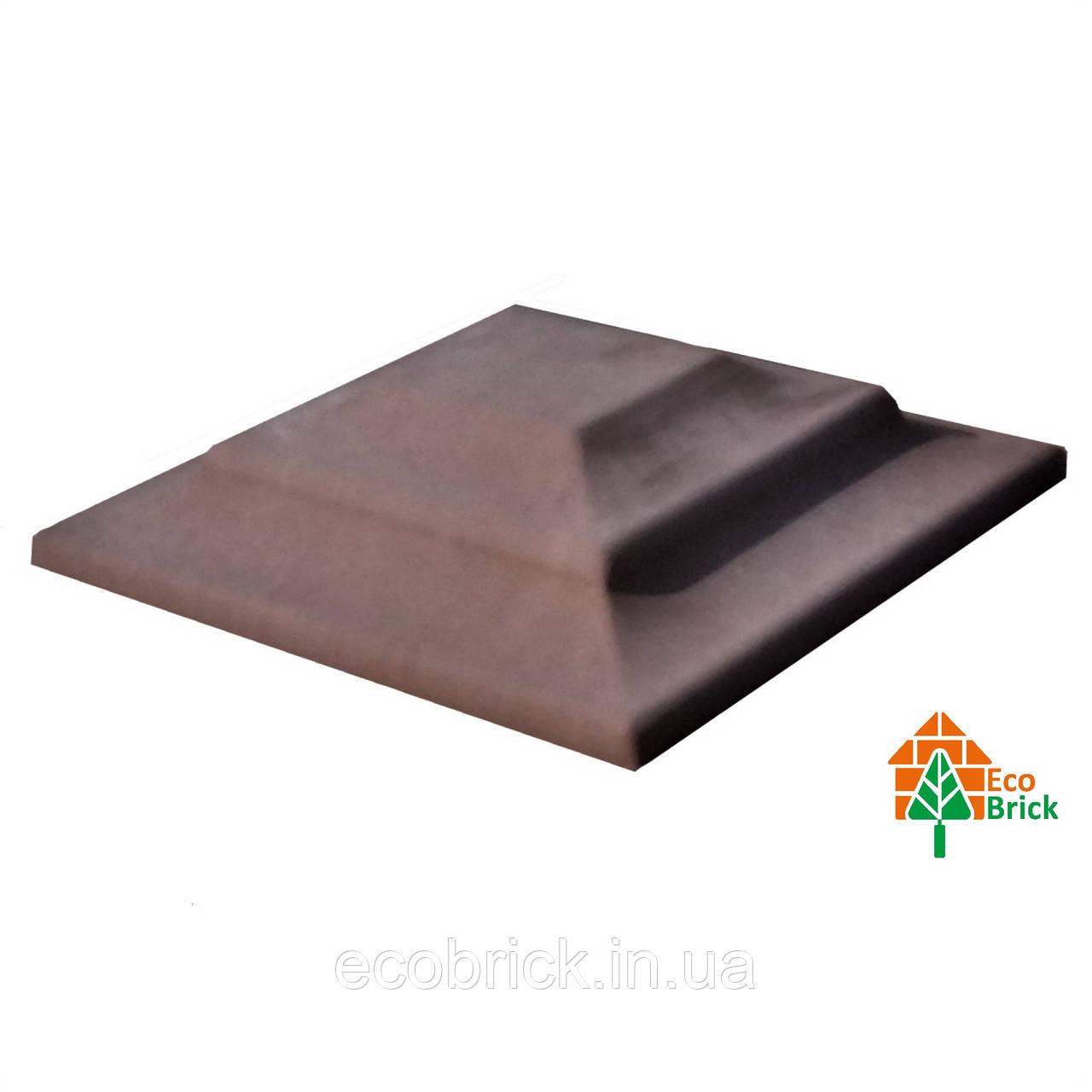 Крышка для кирпичного забора «КАРПАТИ» 310х310, цвет коричневый, вес 15 кг.