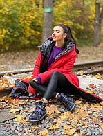 Пуховик женский Яркая зима черное с красным норма и Батал