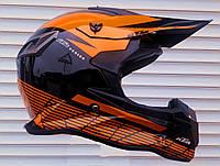 Шлем кроссовый эндуро расцветка KTM чёрно-оранжевый размер L 59-60
