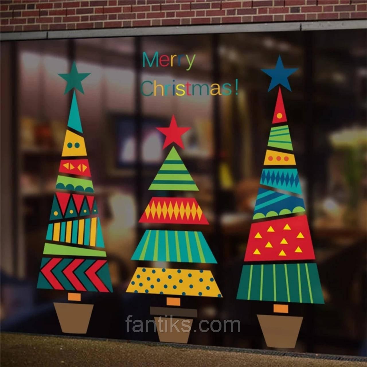 """Набор новогодних силиконовых наклеек для декора окна """"Елки"""""""
