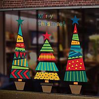 """Набор новогодних силиконовых наклеек для декора окна """"Елки"""", фото 1"""