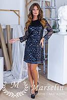 Женское элегантное платье Ажурное кожей