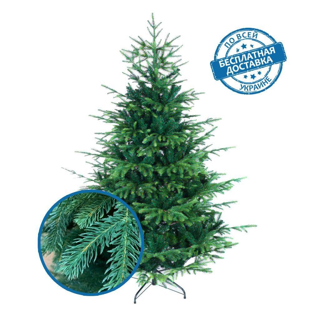 Искусственная елка новогодняя литая 210 см VIP пушистая разборная с подставкой с доставкой 31% PE, 69 % ПВХ