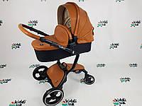 Универсальная(трансформер) коляска 2 в 1 FooFoo экокожа коричневая