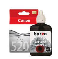 Чернила для Canon PGi-520bk черные, совместимые, пигментная краска, Barva.