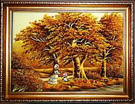 """Янтарная картина, пейзаж """"Дети в осеннем лесу"""" 38х49см"""