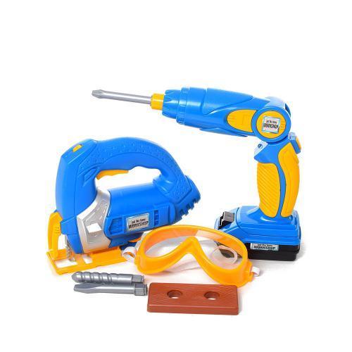 Для детей игрушечный набор инструментов 7928 шуруповерт-дрель электролобзик аксессуары