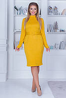 Женское платье под горло однотонное теплое лимонного цвета