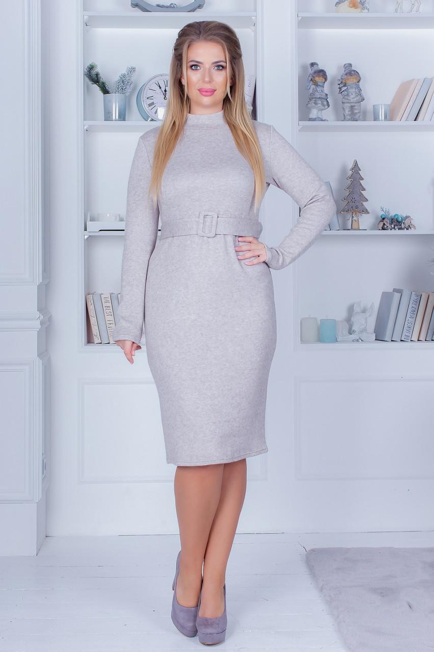 Жіноче плаття, під горло однотонне тепле бежевого кольору