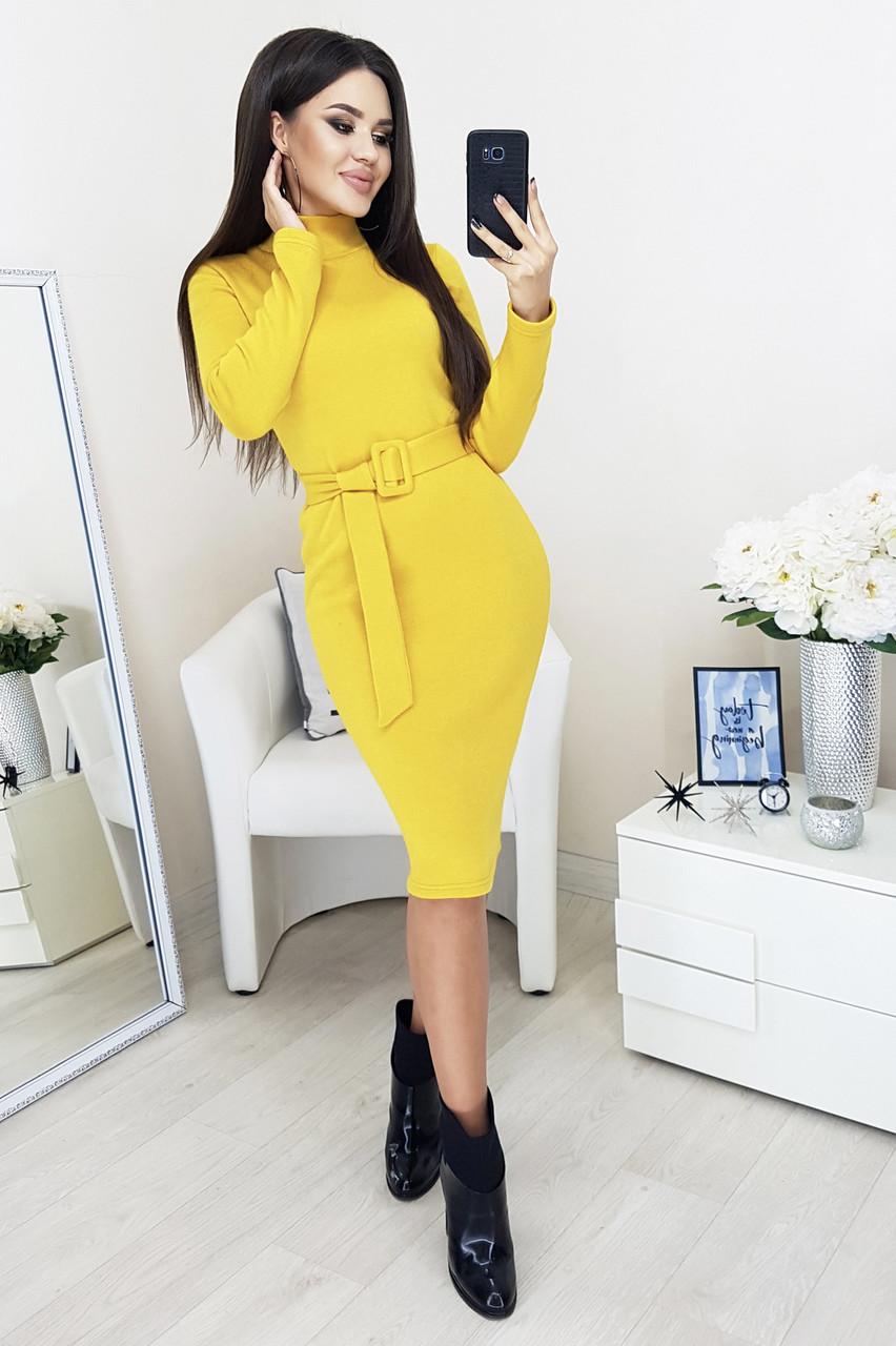 Платье женское длинное приталенное лимонное теплое серое с ангори 42-50р.