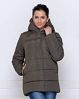Куртка зимняя женская хаки короткая с капюшоном