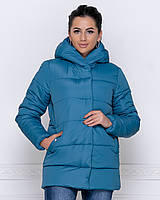 Куртка зимняя женская короткая с капюшоном морская волна