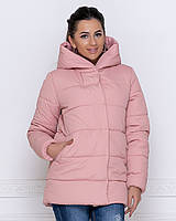 Куртка зимняя женская пудра короткая с капюшоном 44-50р.