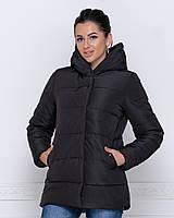 Куртка зимняя женская черная с капюшоном 44-50р.