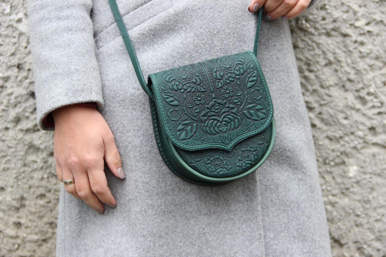 Кожаная женская сумка, сумка через плечо, мини сумочка, зеленая сумка, фото 1