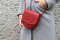 Кожаная женская сумка, сумка через плечо, мини сумочка, красная, фото 1