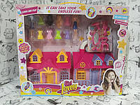 Складной домик для кукол, материал - пластик, в комплекте: домик, 2 куклы, аксессуары.