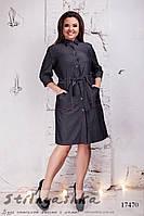 Джинсовое платье-рубашка для полных темное, фото 1