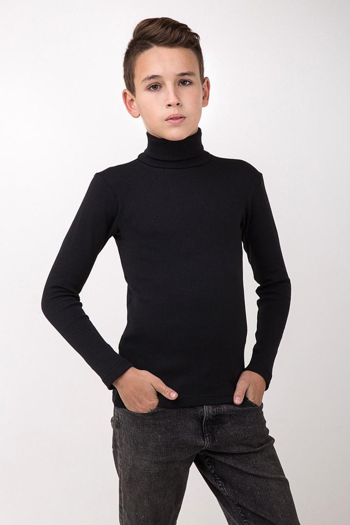 Гольф детский  Юниор  на баечке  с отворотом  цвет черный
