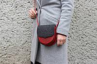 Кожаная женская сумка, сумка через плечо, мини сумочка, чёрно-красная, фото 1