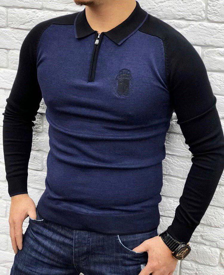 Кофта мужская Billionaire P0244 черно-синяя
