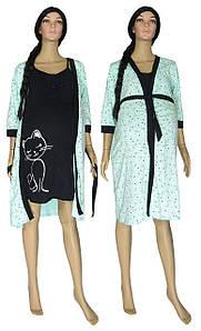 Ночная рубашка и халат для беременных и кормящих 18056 Fanny Cat Contrast Ментол коттон 48-50
