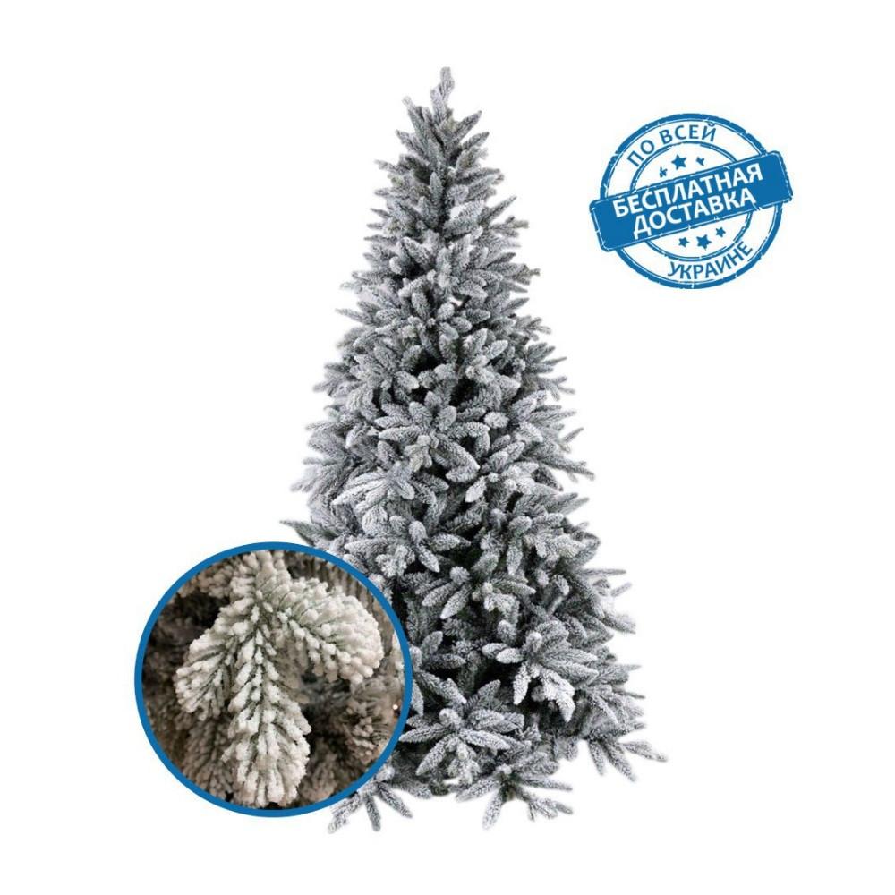 Искусственная заснеженная елка новогодняя литая хвоя 180 см пушистая премиум класса 25% PE, 75 % ПВХ