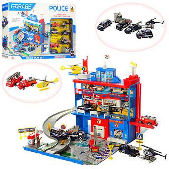 Игровой набор Детский трехэтажный гараж 566-14 полицейский участок