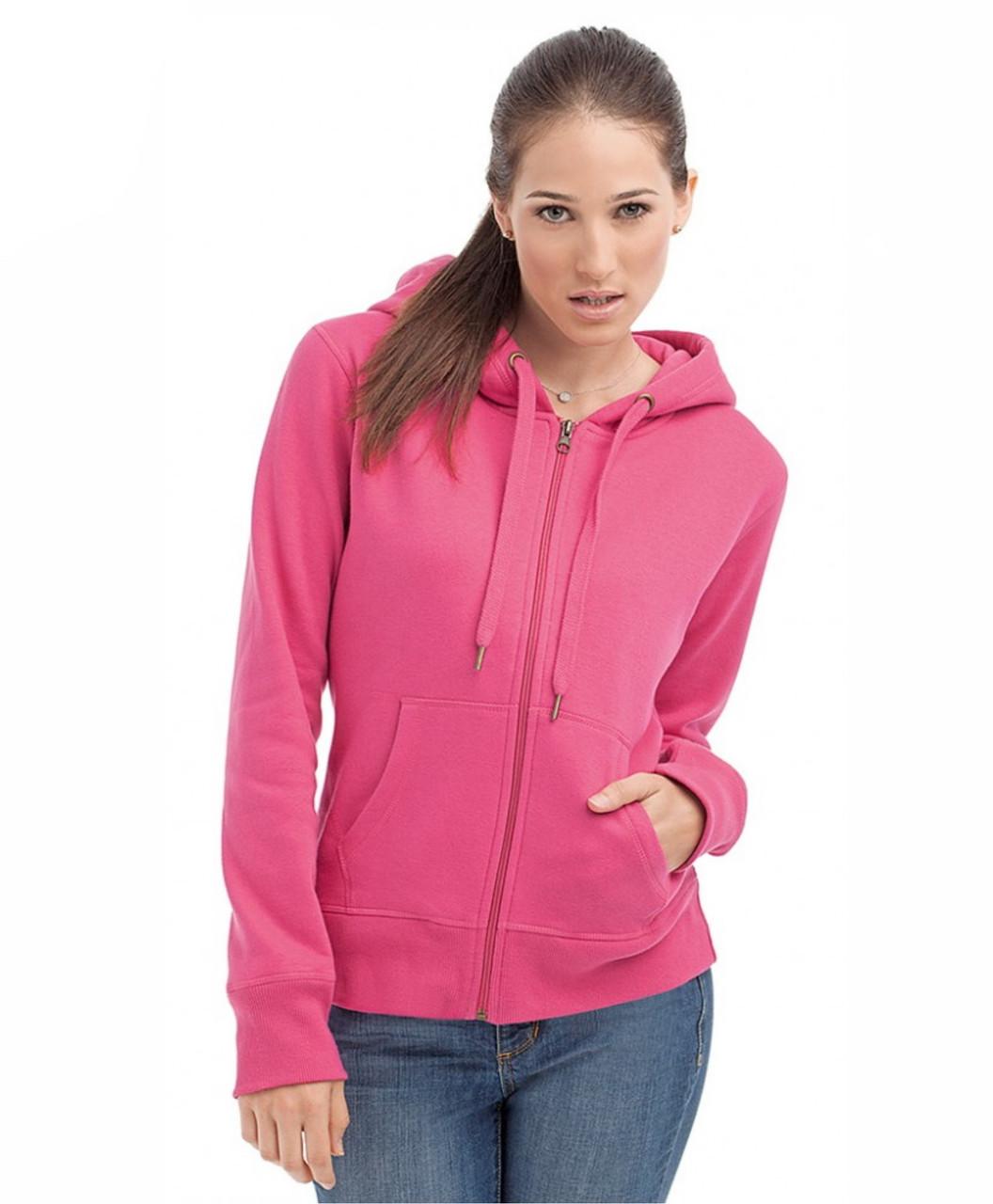 Женская кофта с капюшоном на молнии розовая, кенгуру Stedman - Sweet Pink CT5710