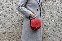 Кожаная женская сумка, красно-черная сумка, сумка через плечо, мини сумочка
