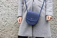 Маленькая кожаная женская  синяя сумка через плечо, тисненная кожа, фото 1