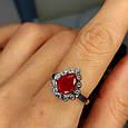 """Серебряное кольцо с красным фианитом """"рубин"""" - Женское серебряное кольцо с красным камнем, фото 6"""