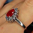 """Серебряное кольцо с красным фианитом """"рубин"""" - Женское серебряное кольцо с красным камнем, фото 3"""