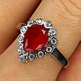 """Серебряное кольцо с красным фианитом """"рубин"""" - Женское серебряное кольцо с красным камнем, фото 2"""
