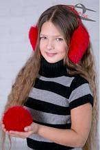 Детские наушники из натурального меха для девочки Фиона Украины W3-105 Красный