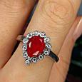 """Серебряное кольцо с красным фианитом """"рубин"""" - Женское серебряное кольцо с красным камнем, фото 4"""