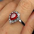 """Серебряное кольцо с красным фианитом """"рубин"""" - Женское серебряное кольцо с красным камнем, фото 5"""