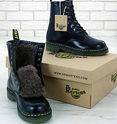 Женские зимние ботинки Dr. Martens 1460 black на меху. Реальное фото. Топ реплика