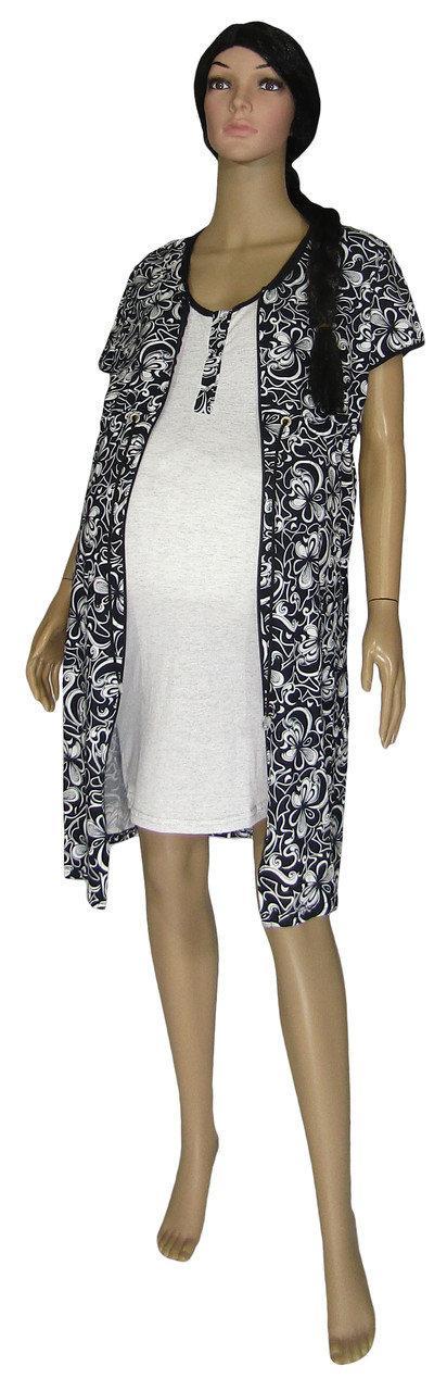 Ночная рубашка и платье халат на молнии 18029 Fashion Patterns Black для беременных и кормящих