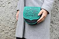Стильная компактная сумочка черно-бирюзового цвета, натуральная кожа, уникальный дизайн, фото 1