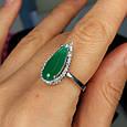 Серебряное кольцо с зеленым кварцем - Кольцо женское с зеленым камнем серебро, фото 3