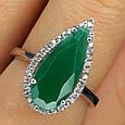 Серебряное кольцо с зеленым кварцем - Кольцо женское с зеленым камнем серебро, фото 2