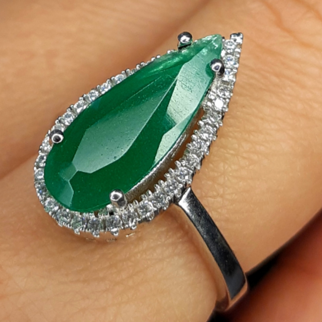 Серебряное кольцо с зеленым кварцем - Кольцо женское с зеленым камнем серебро